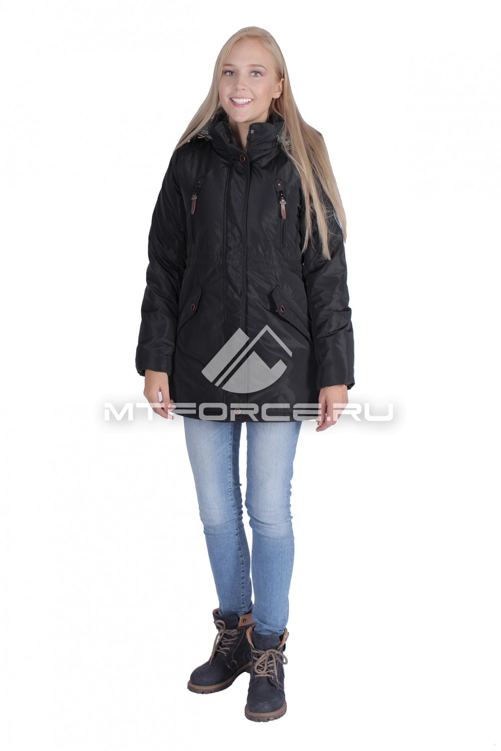 Купить                                  оптом Итальянская куртка женская черного цвета 1689Ch