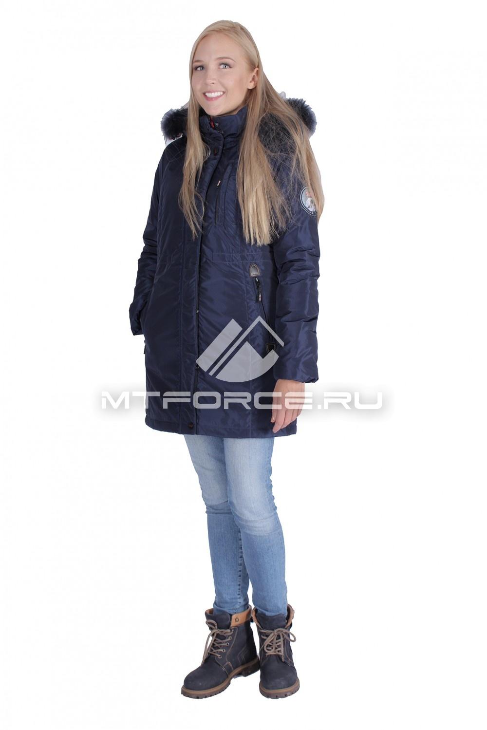 Купить                                  оптом Итальянская куртка женская темно-синего цвета 1690TS