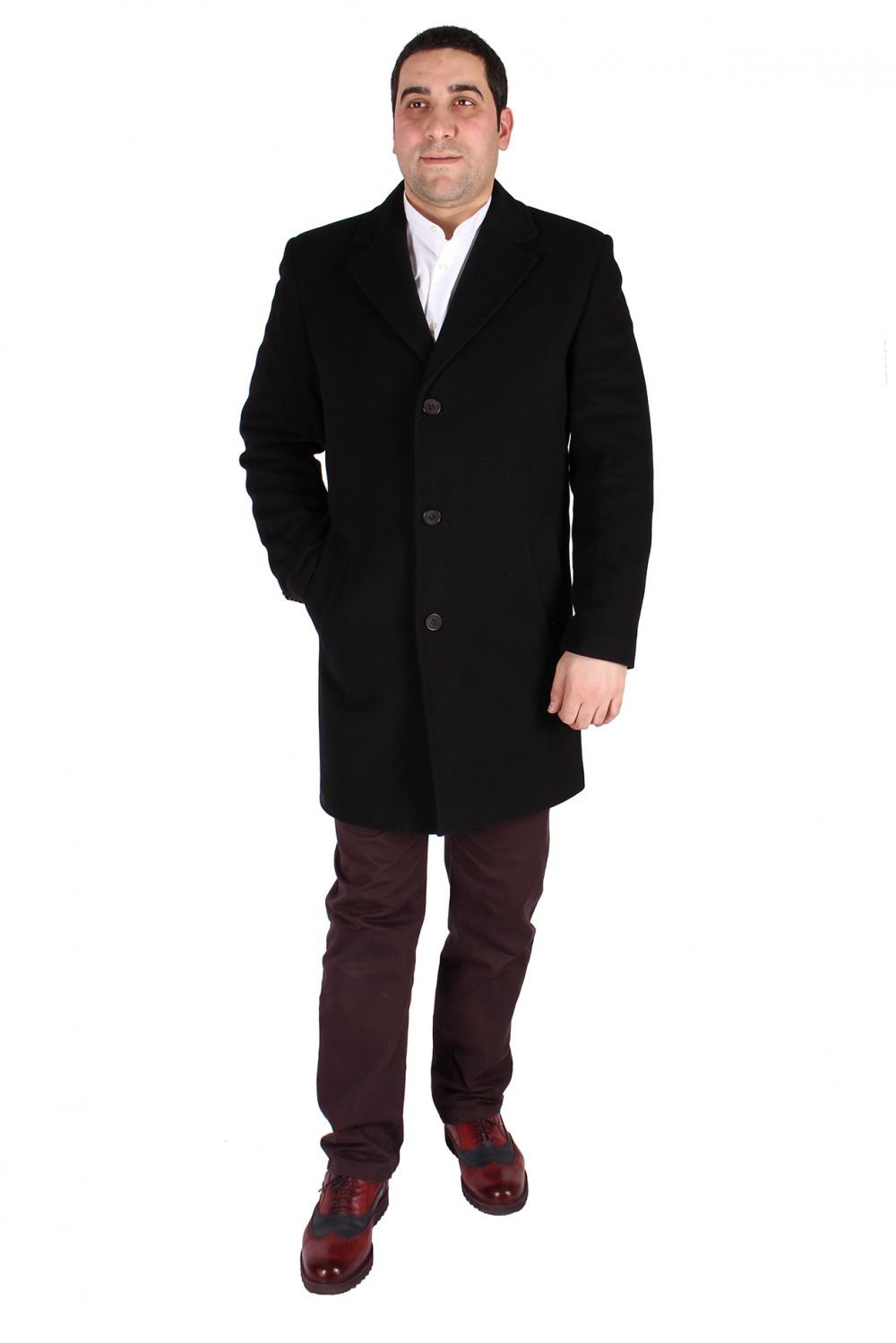 Купить оптом Пальто мужское черного цвета 16Ch в Нижнем Новгороде