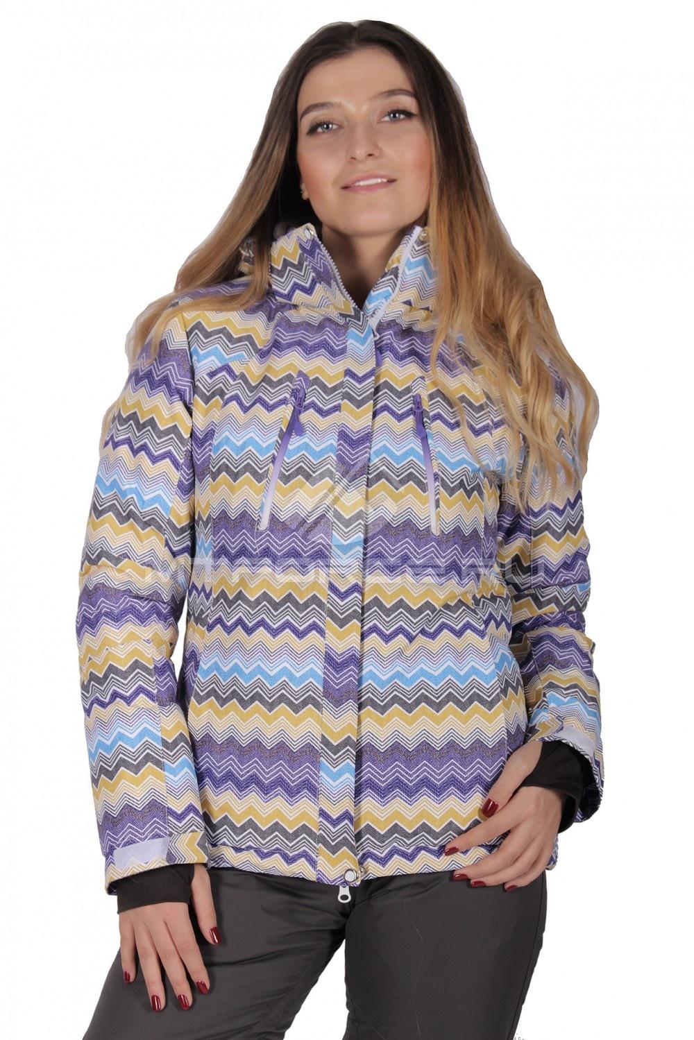 Купить  оптом Куртка горнолыжная женская фиолетового цвета 1701F