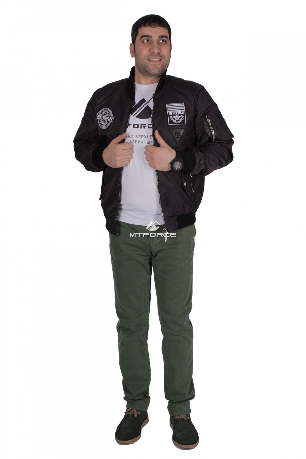Купить оптом Куртка-бомбер мужской свободного кроя черного цвета 17021Ch в Санкт-Петербурге