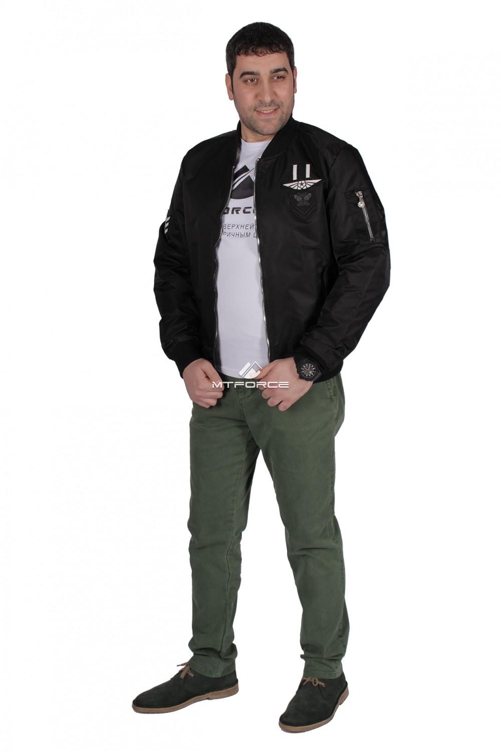 Купить  оптом Куртка-бомбер мужской свободного кроя черного цвета 17023Ch