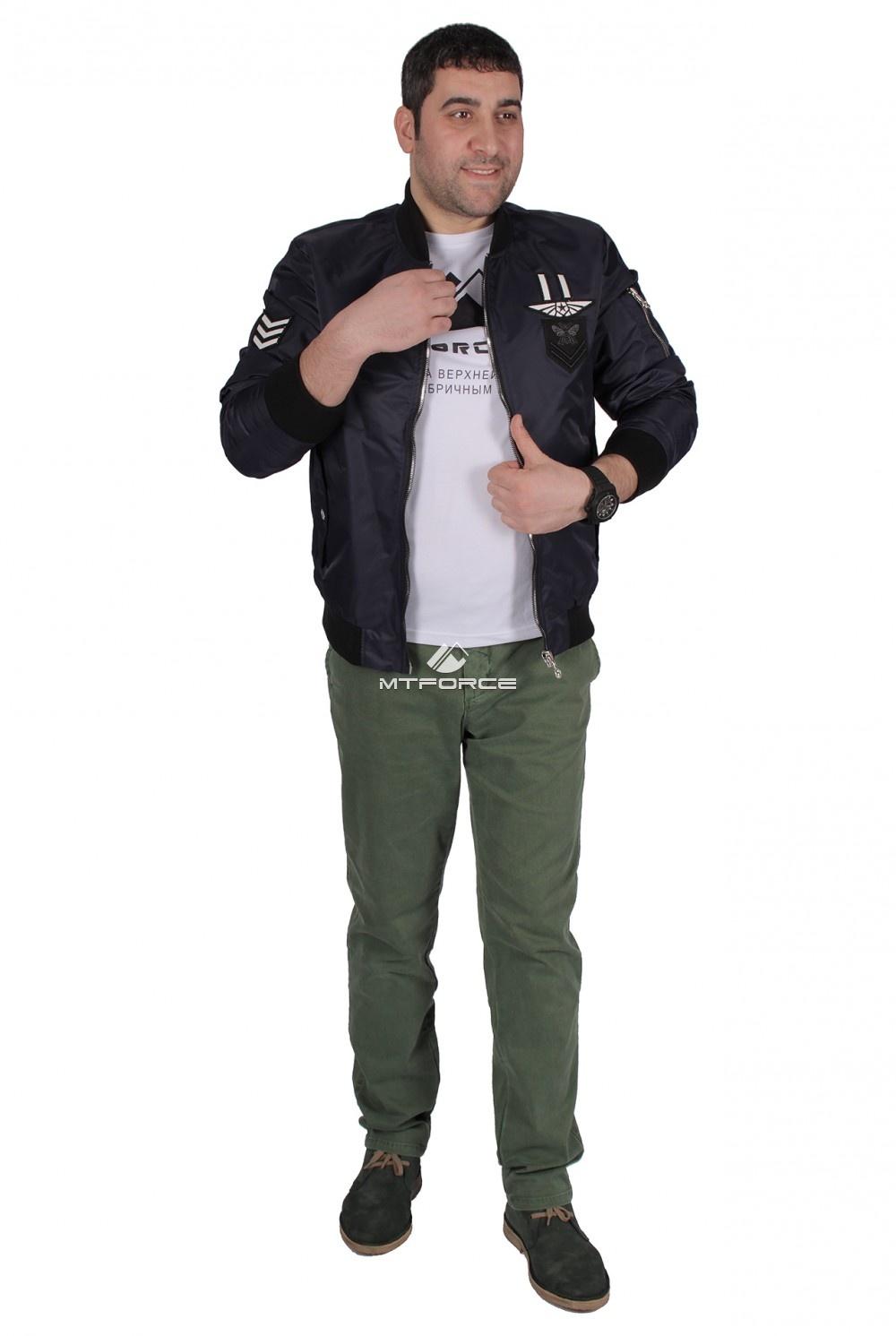 Купить оптом Куртка-бомбер мужской свободного кроя темно-синего цвета 17023TS в Санкт-Петербурге