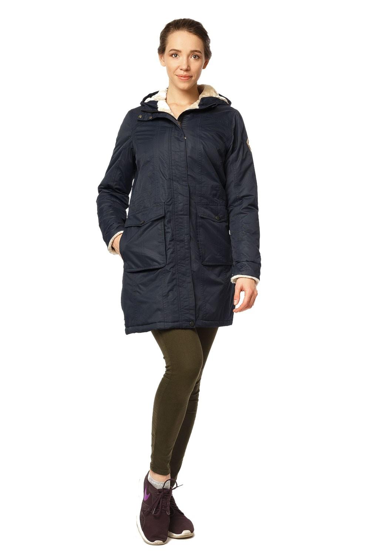 Куртка парка демисезонная женская ПИСК сезона темно-синего цвета 17099TS