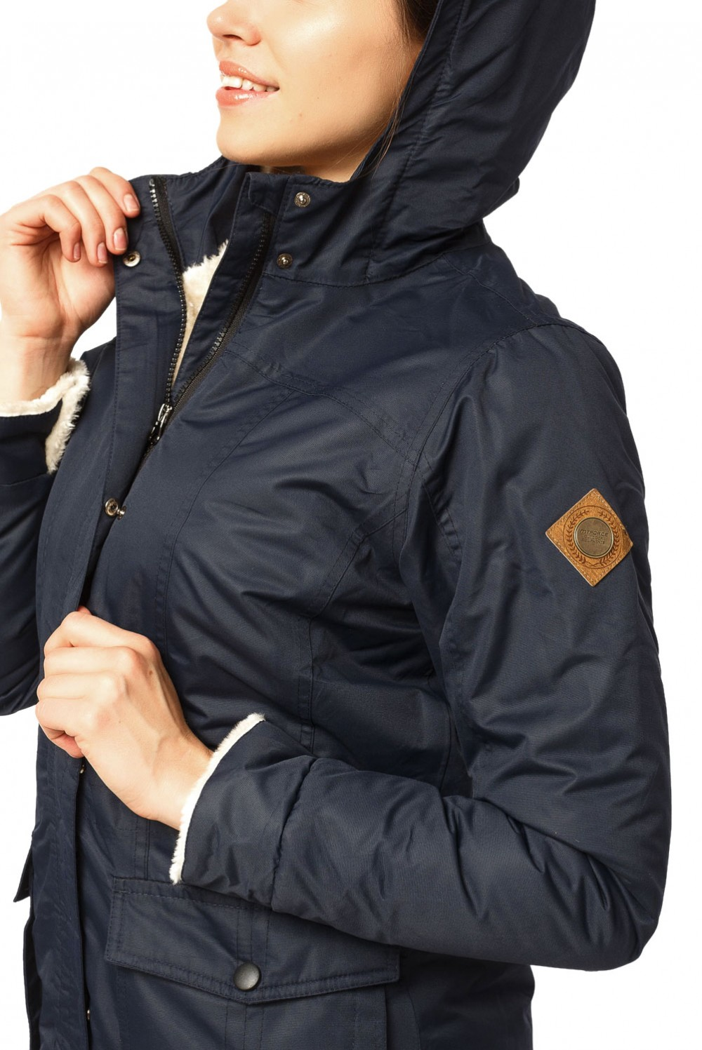 Купить оптом Куртка парка демисезонная женская ПИСК сезона темно-синего цвета 17099TS в Екатеринбурге