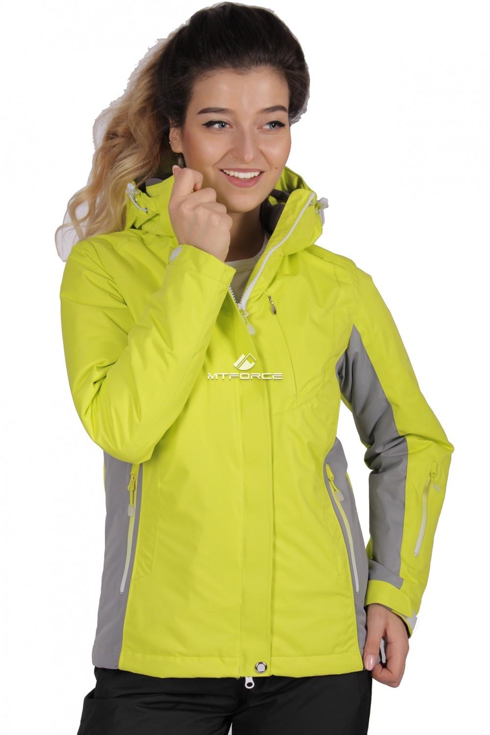 Купить оптом Куртка спортивная женская осень весна желтого цвета 1711J в Санкт-Петербурге