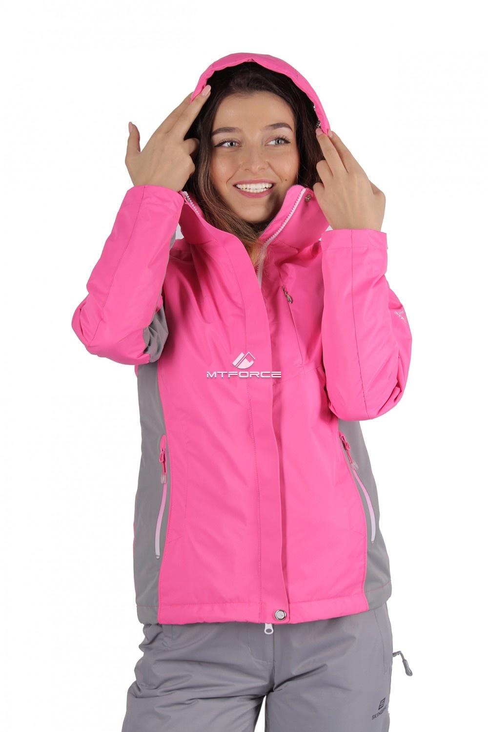 Купить                                  оптом Куртка спортивная женская осень весна розового цвета 1711R-1 в Санкт-Петербурге