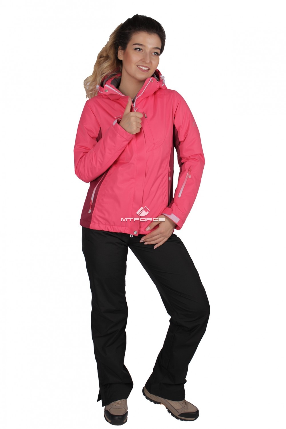 Купить оптом Костюм женский осень весна розового цвета 01711R