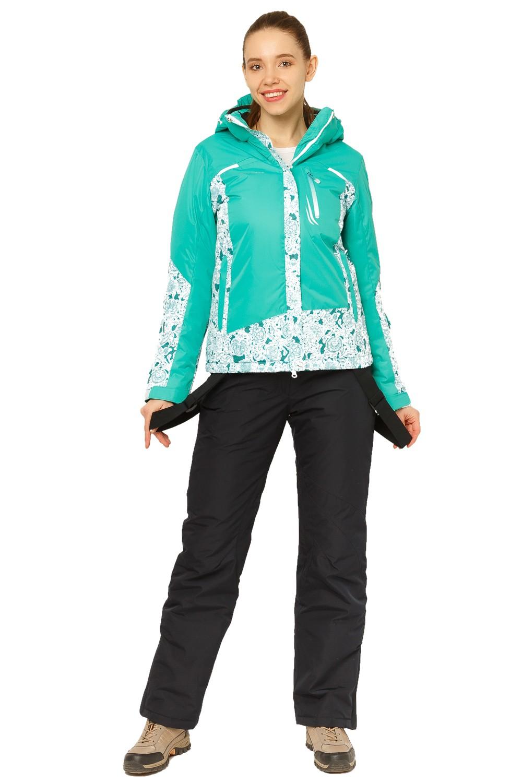 Купить оптом Костюм горнолыжный женский зеленого цвета 017122Z в Екатеринбурге