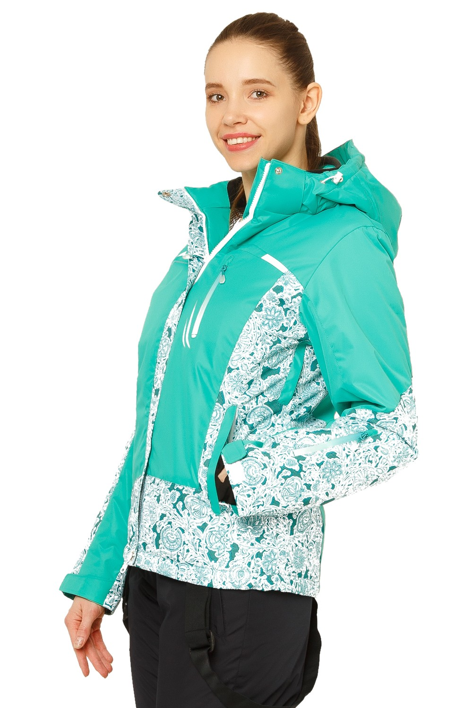 Купить оптом Костюм горнолыжный женский зеленого цвета 017122Z в Новосибирске