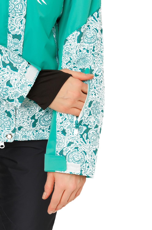 Купить оптом Куртка горнолыжная женская зеленого цвета 17122Z