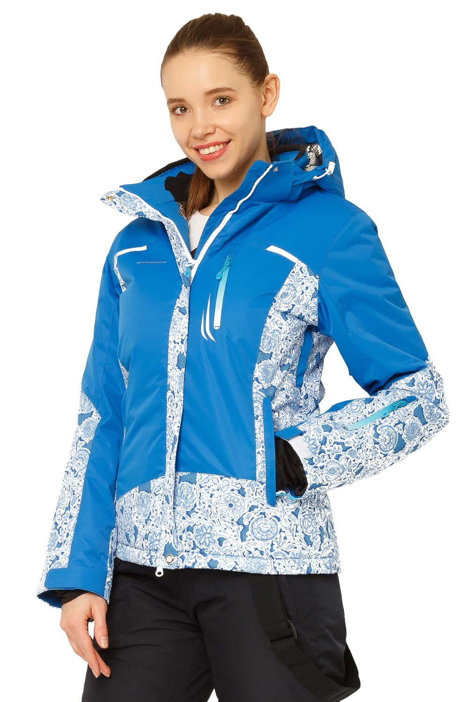 Купить оптом Куртка горнолыжная женская синего цвета 17122S в Челябинске
