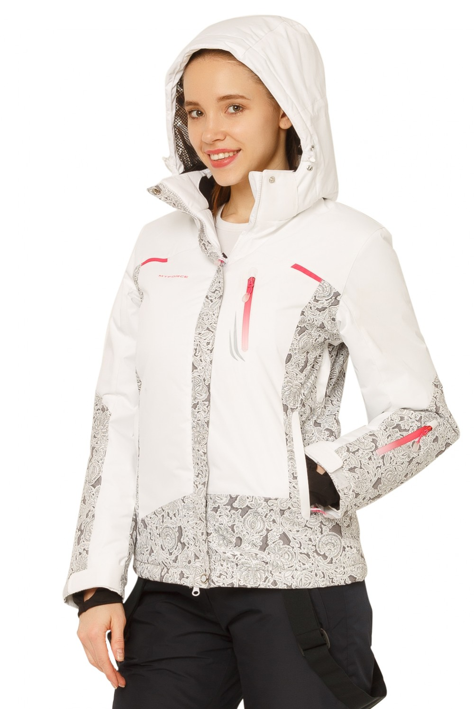 Купить оптом Костюм горнолыжный женский белого цвета 017122Bl в Санкт-Петербурге