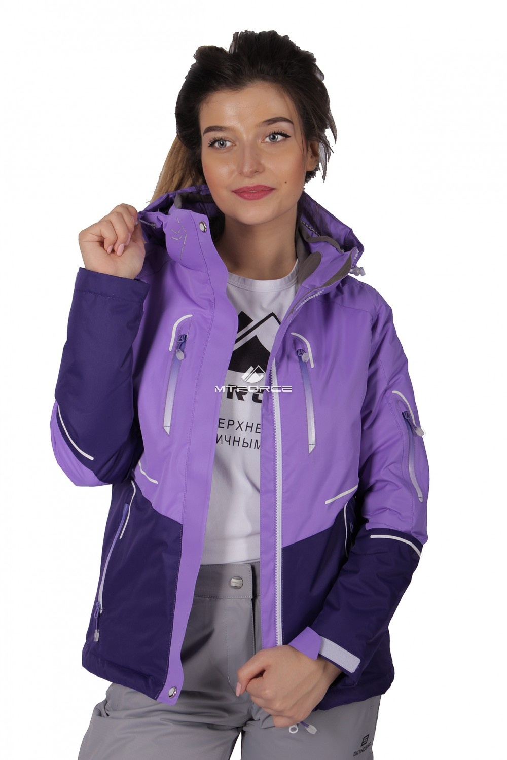 Купить                                  оптом Куртка спортивная женская осень весна фиолетового цвета 1715F