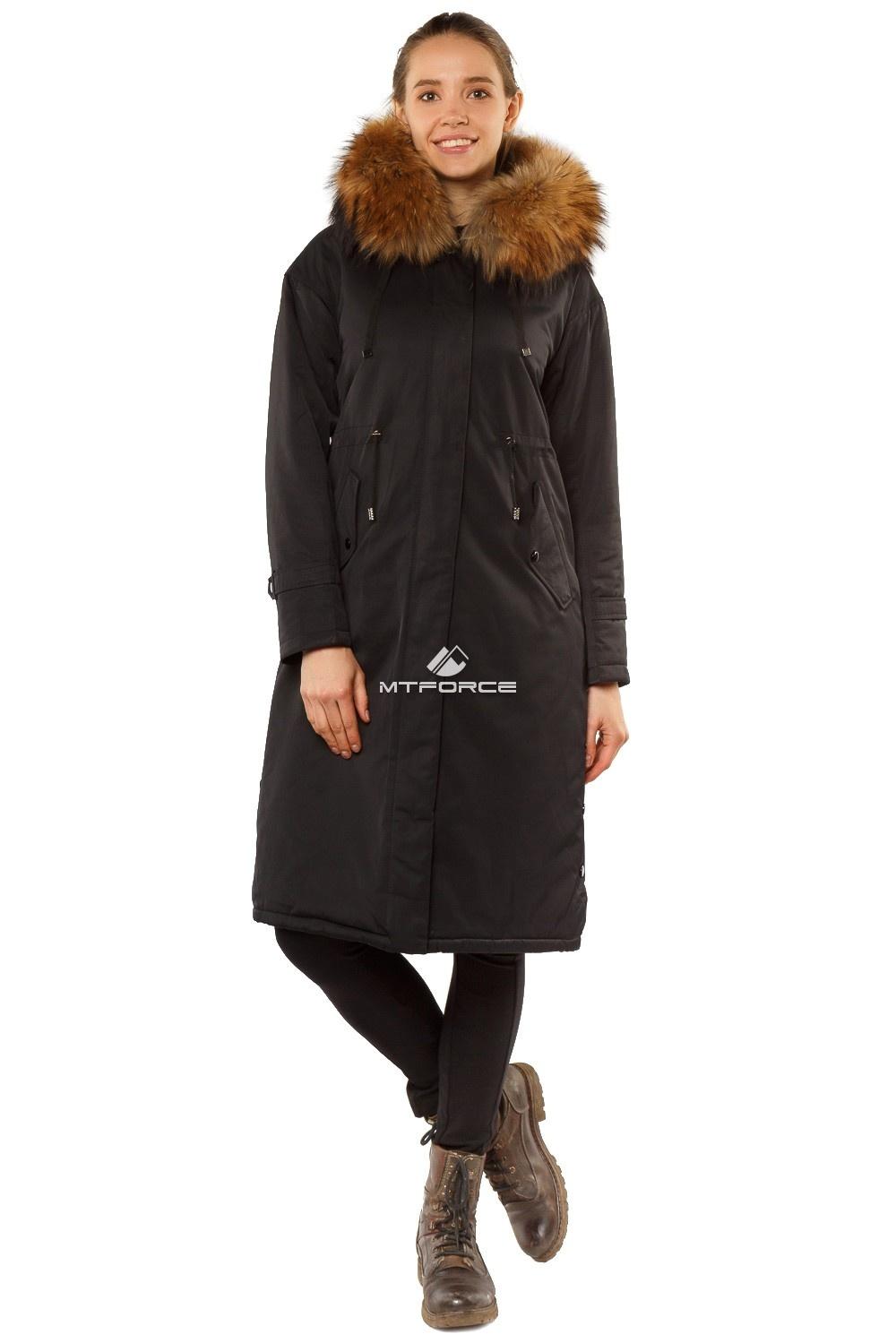 Купить  оптом Куртка парка тренд большого размера черного цвета 11715Ch