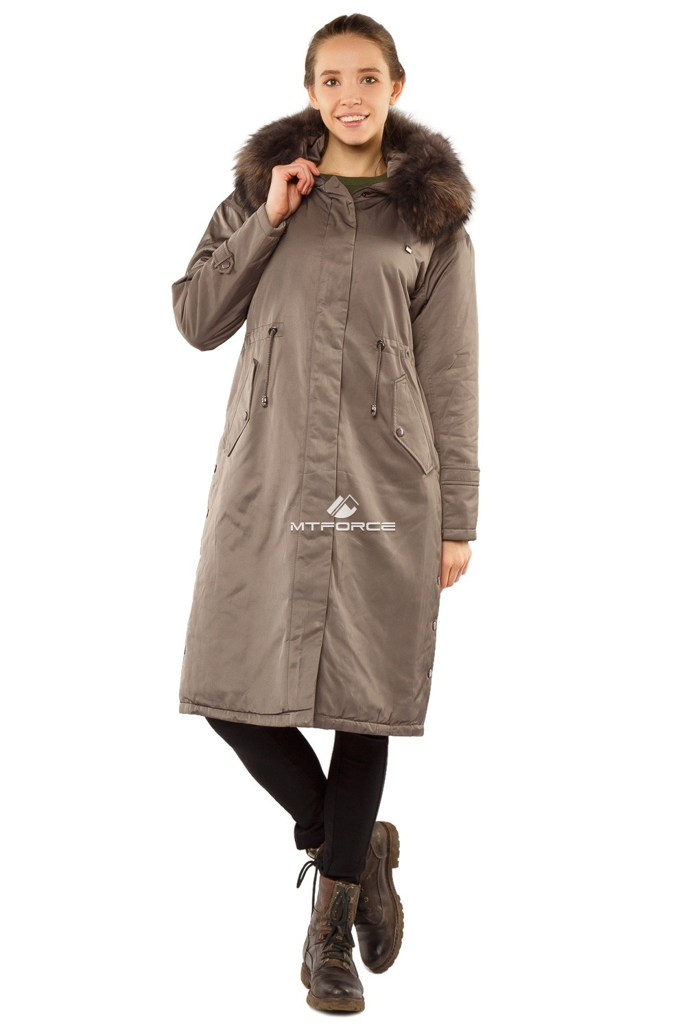 Купить  оптом Куртка парка тренд большого размера серого цвета 11715Sr