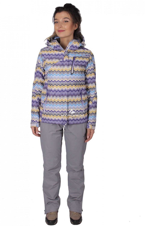 Купить оптом Костюм женский осень весна фиолетового цвета 01716F в Новосибирске