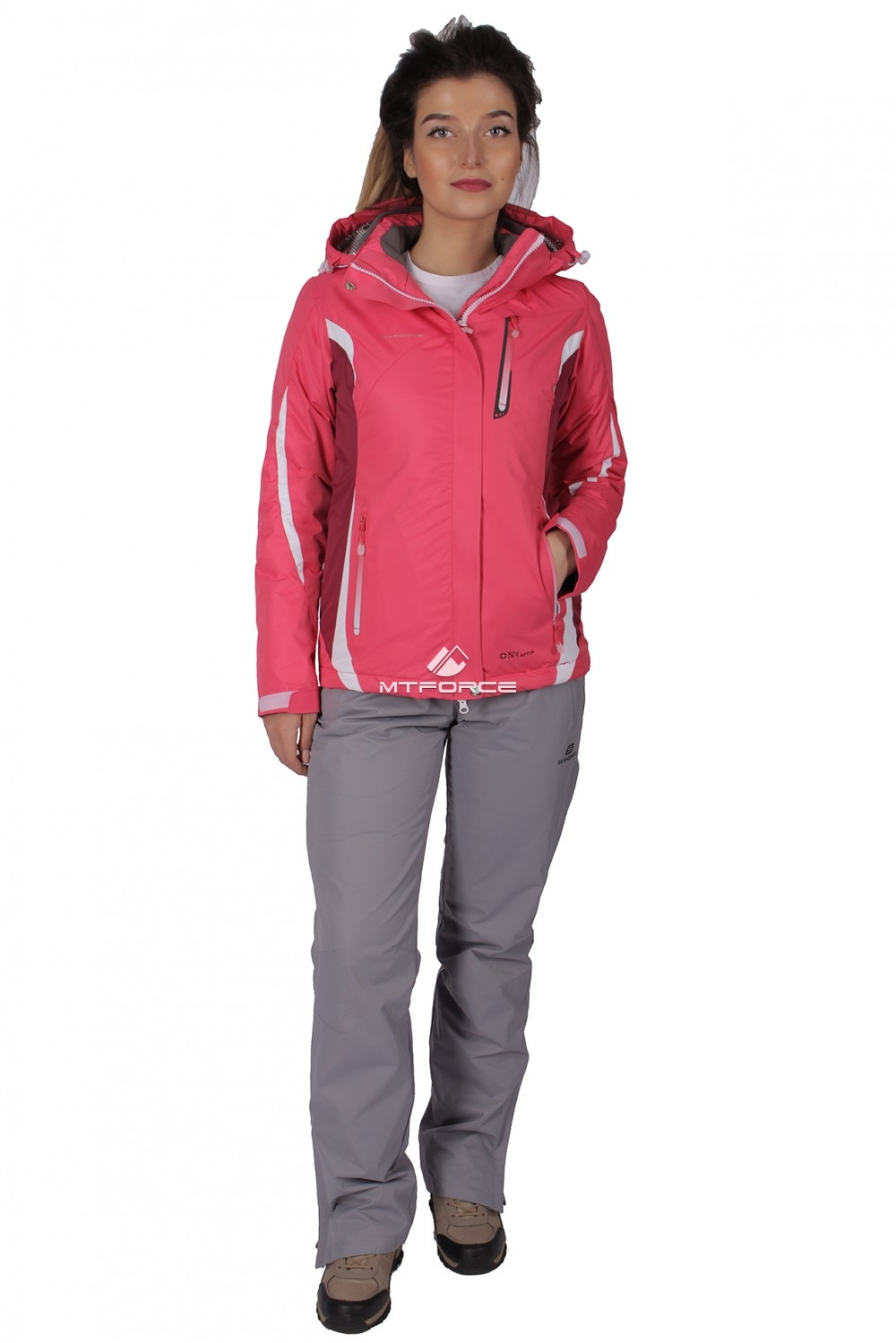 Купить  оптом Костюм женский осень весна розового цвета 01717R