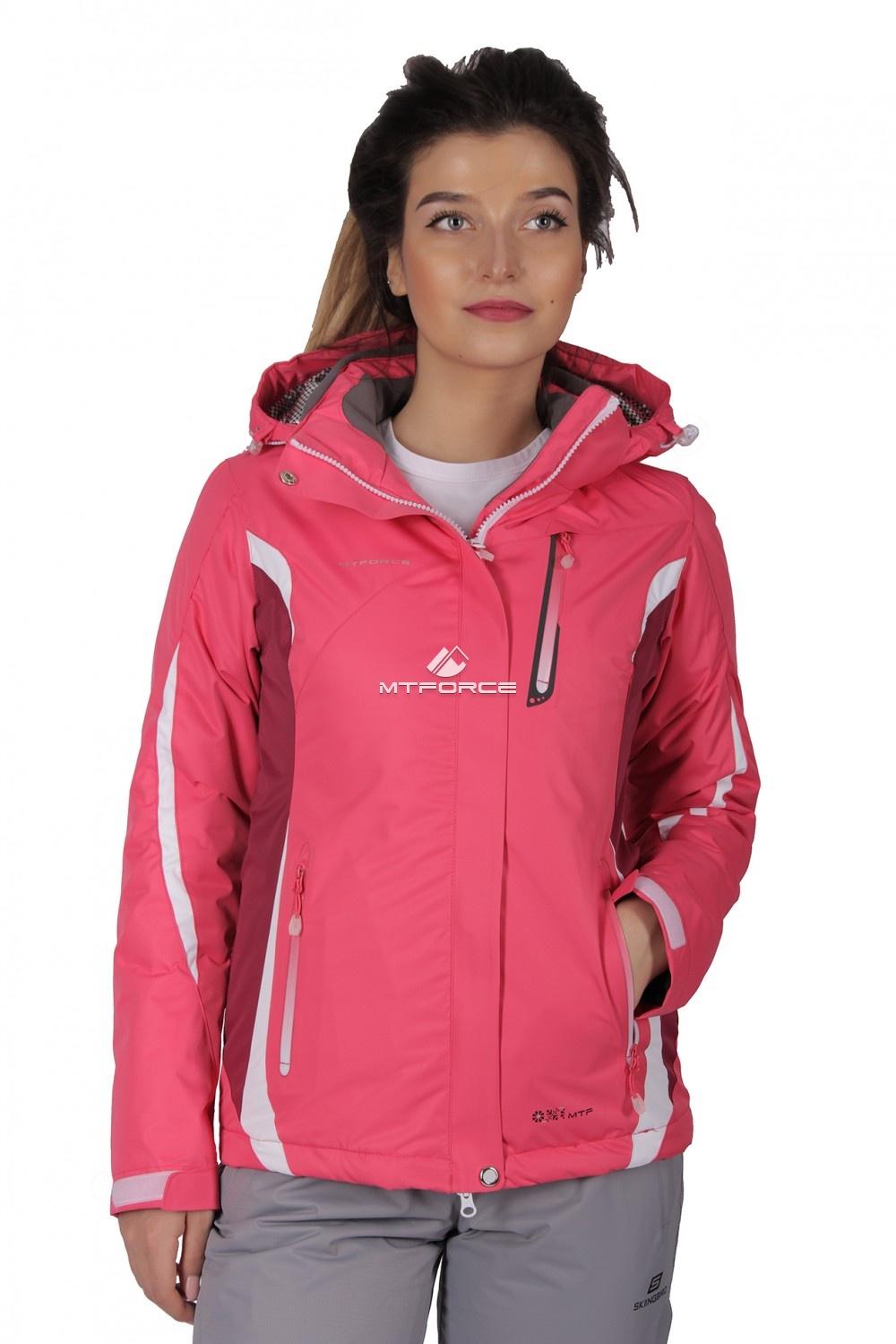 Купить оптом Куртка спортивная женская осень весна розового цвета 1717R в Новосибирске