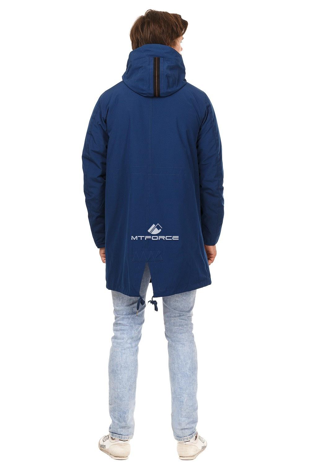 Купить оптом Куртка парка мужская осень весна темно-синего цвета 1720TS в Екатеринбурге