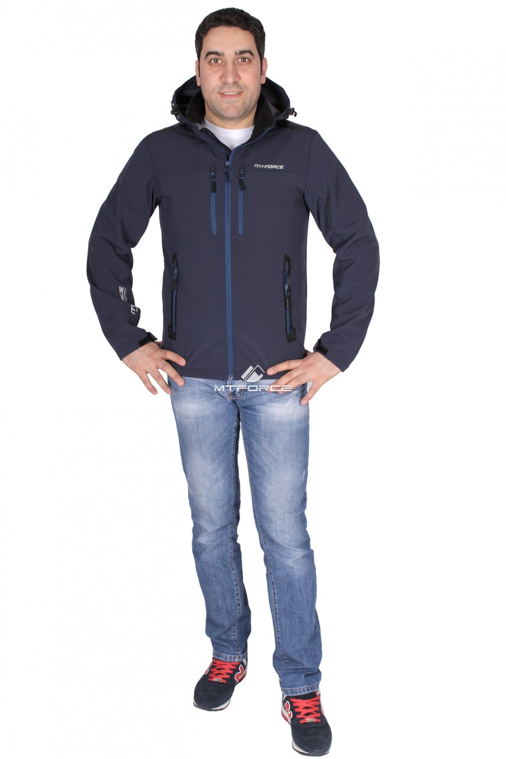 Купить оптом Ветровка - виндстоппер мужская темно-синего цвета 1739TS в Санкт-Петербурге