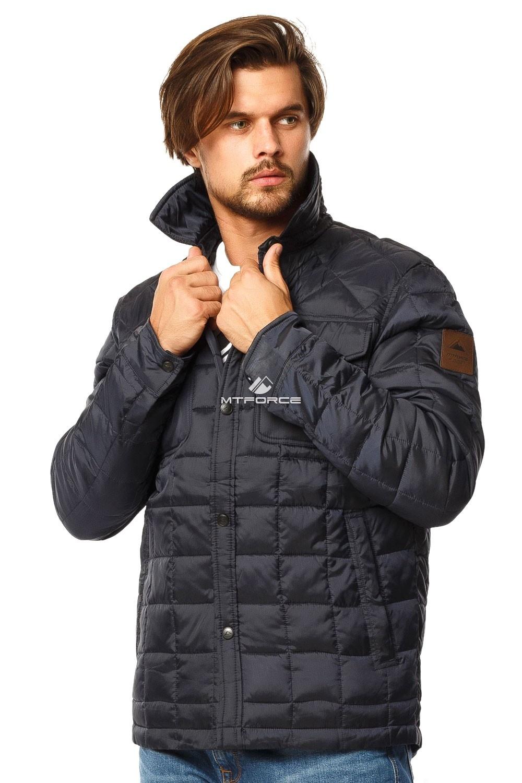 Купить оптом Куртка мужская стеганная темно-синего цвета 1743TS в Казани