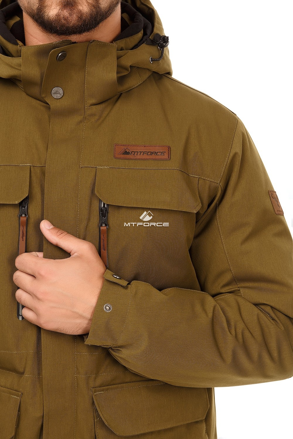 Купить оптом Куртка мужская осень весна хаки цвета 1747Kh в Ростове-на-Дону