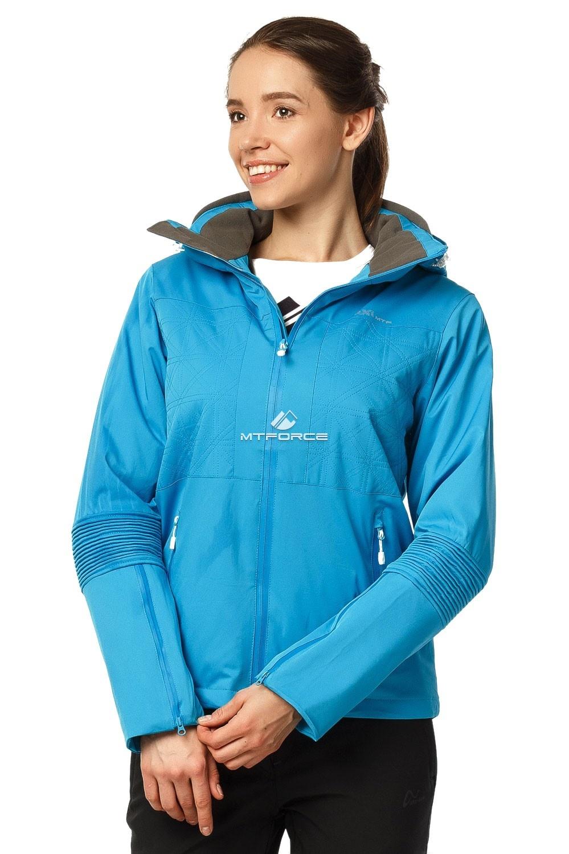 Купить оптом Костюм женский осень весна голубого цвета 01752Gl