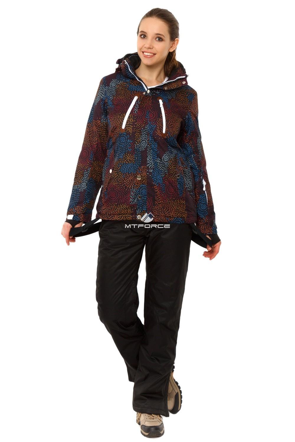 Купить  оптом Костюм горнолыжный женский черного цвета 01754Ch