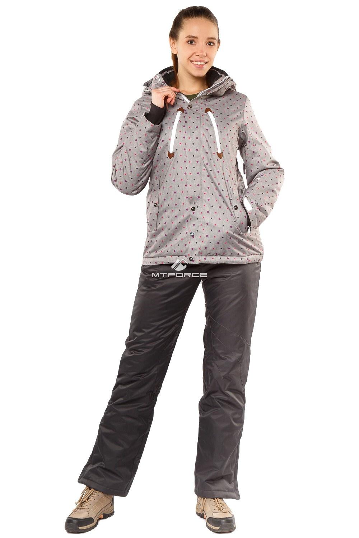 Купить  оптом Костюм горнолыжный женский серого цвета 01754Sr