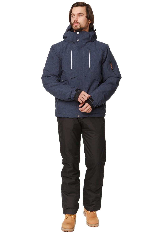 Купить оптом Костюм горнолыжный мужской темно-синего цвета 01768TS в Перми