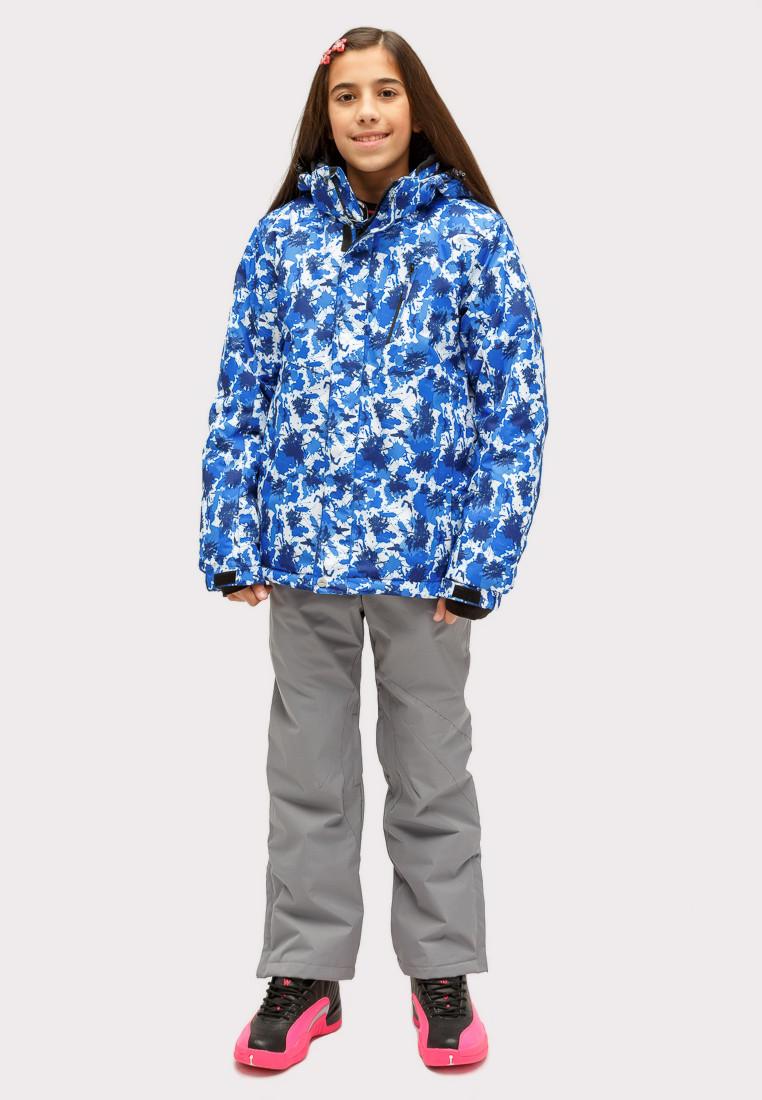 Купить оптом Костюм горнолыжный для девочки синего цвета 01773S в Нижнем Новгороде