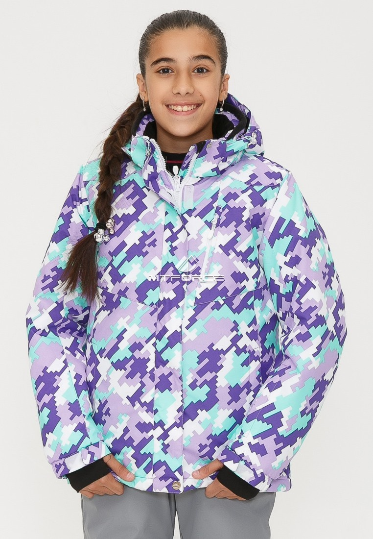 Купить оптом Костюм горнолыжный для девочки фиолетового цвета 01774F в Сочи