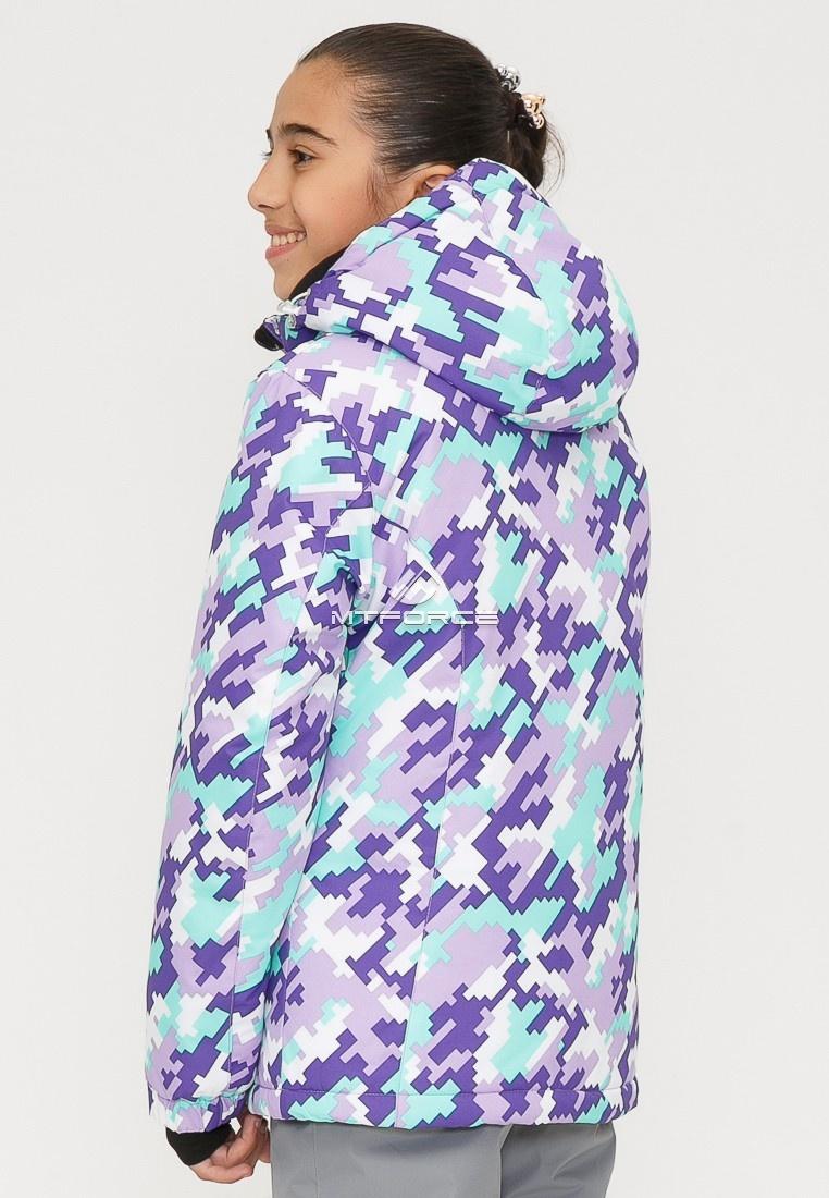 Купить оптом Костюм горнолыжный для девочки фиолетового цвета 01774F в Уфе