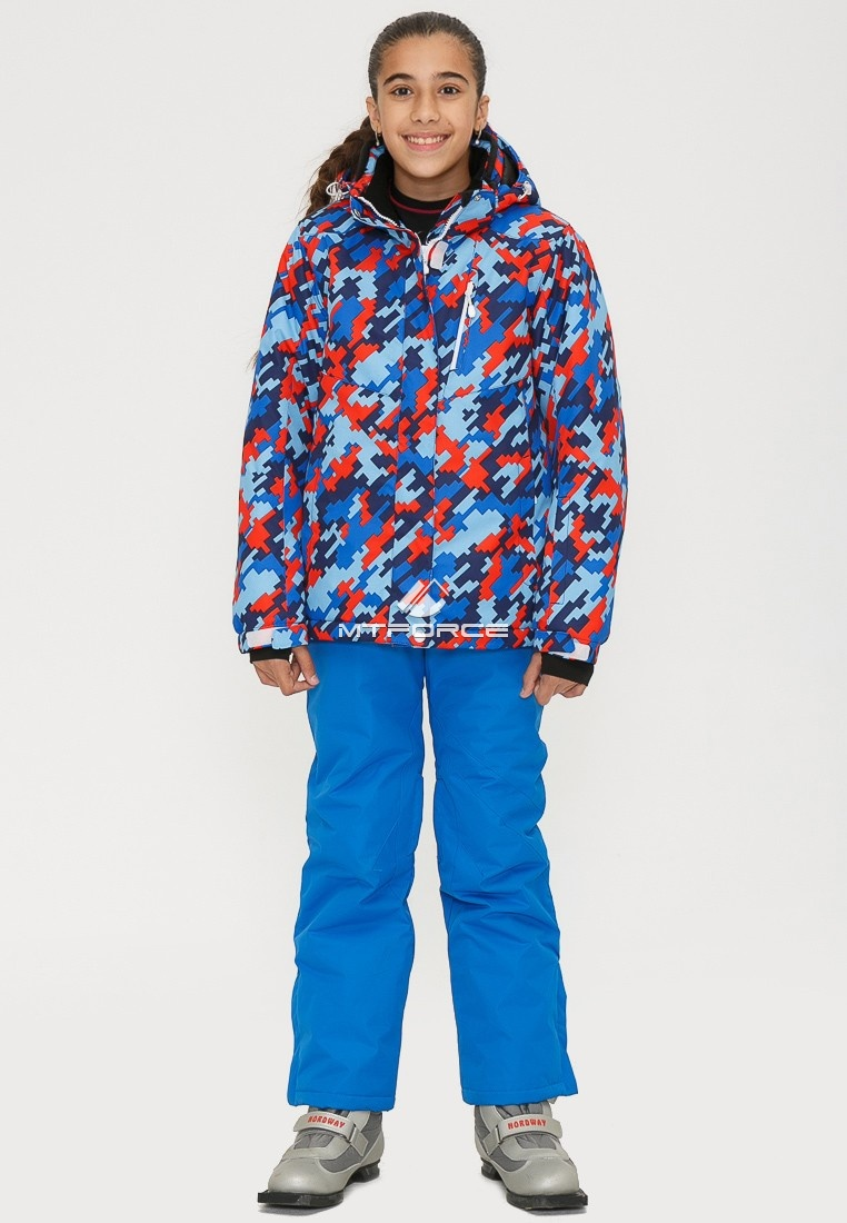 Купить оптом Костюм горнолыжный для девочки красного цвета 01774Kr в Екатеринбурге