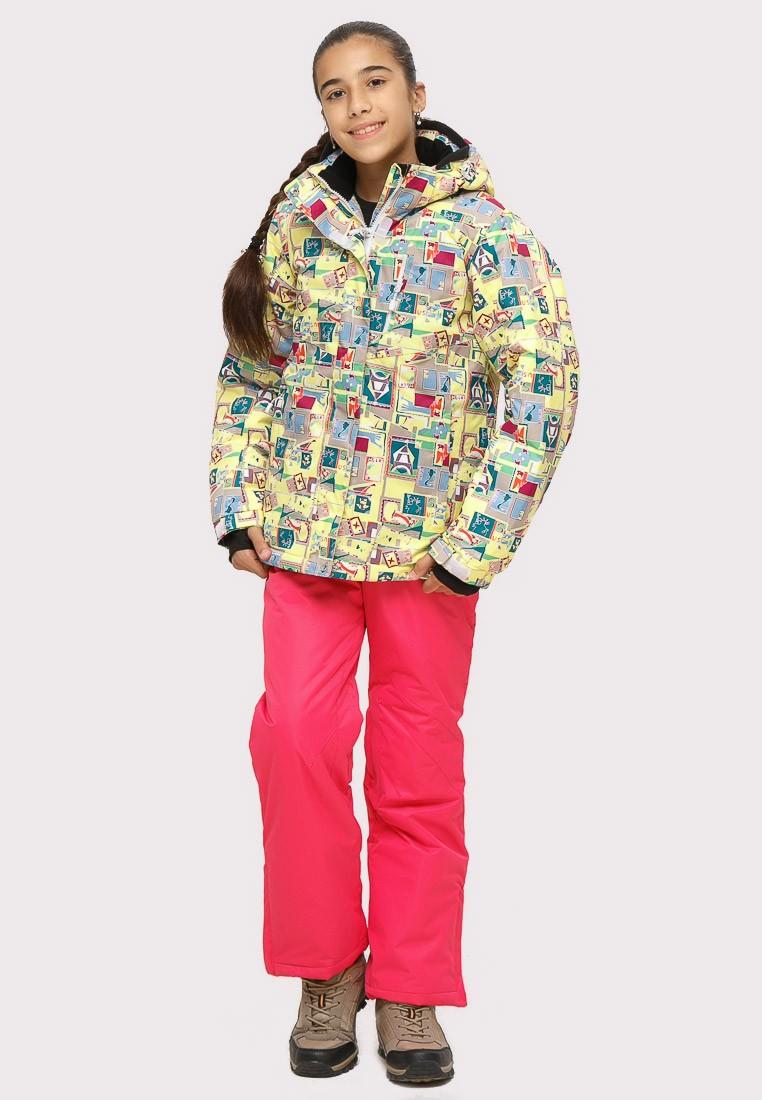 Купить оптом Костюм горнолыжный для девочки желтого цвета 01774J в Казани