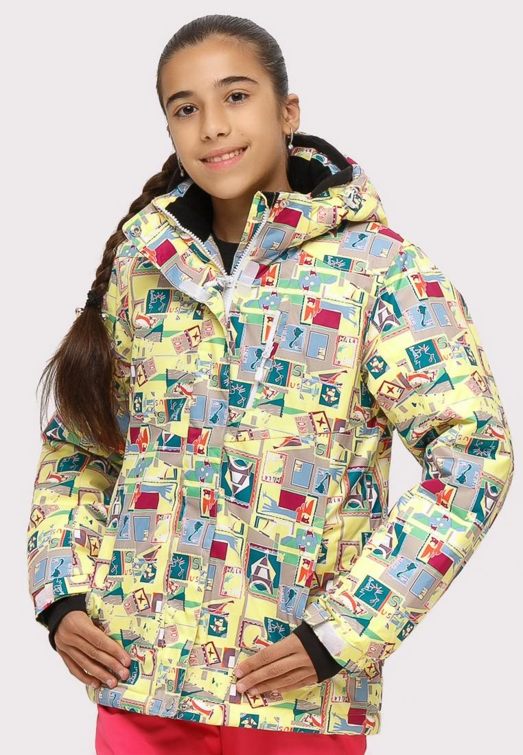 Купить оптом Куртка горнолыжная подростковая для девочки желтого цвета 1774J в  Красноярске