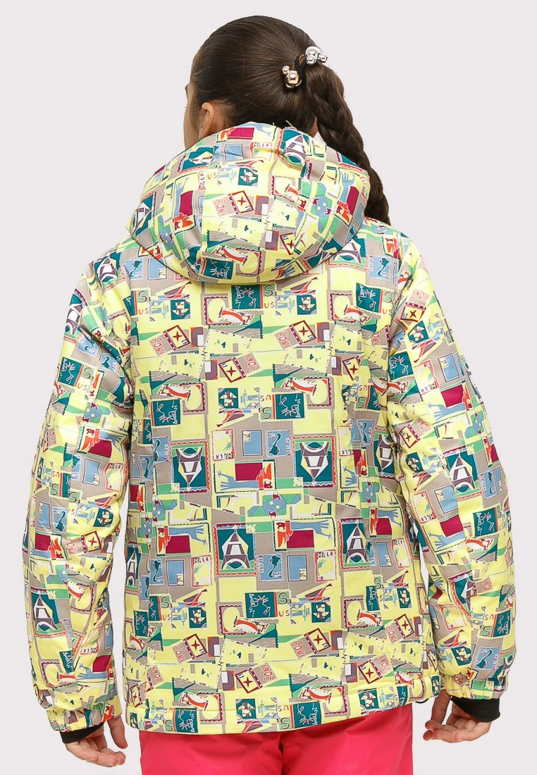 Купить оптом Костюм горнолыжный для девочки желтого цвета 01774J