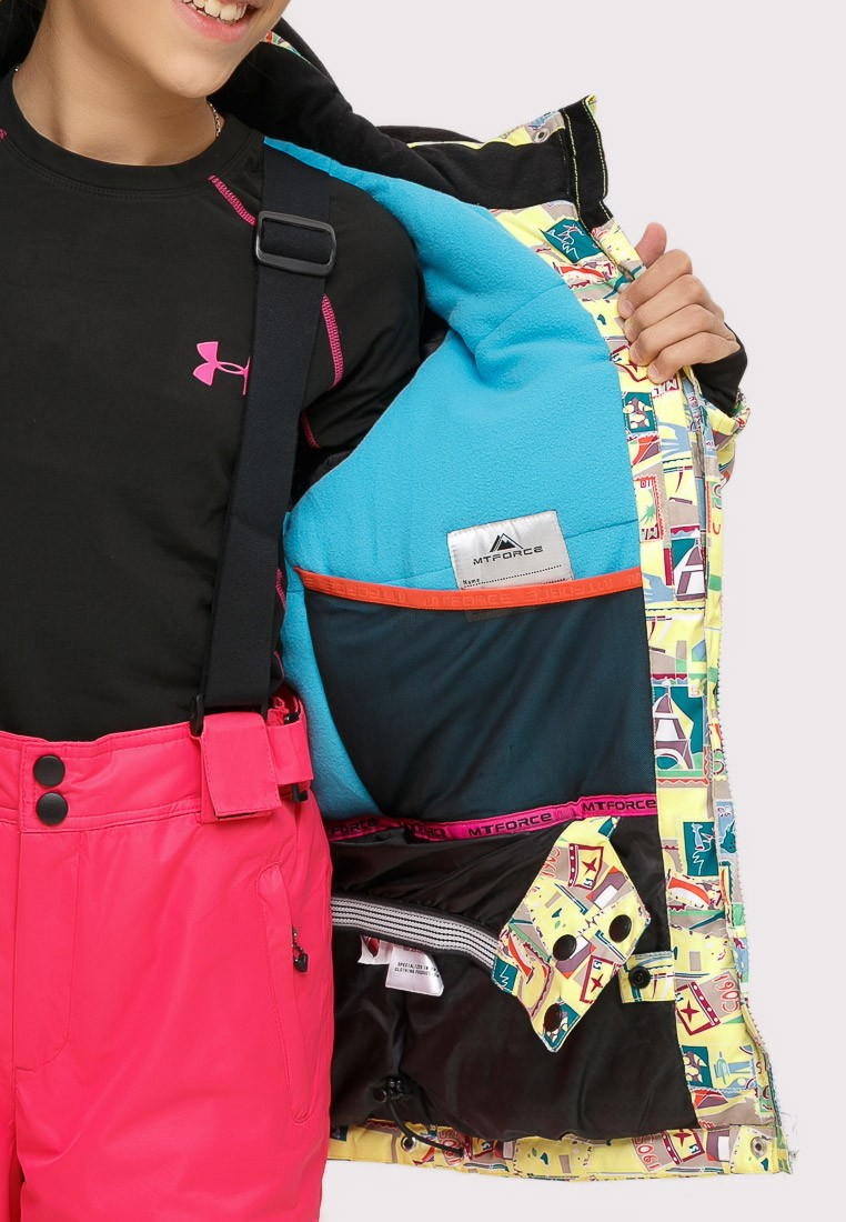 Купить оптом Куртка горнолыжная подростковая для девочки желтого цвета 1774J в Воронеже