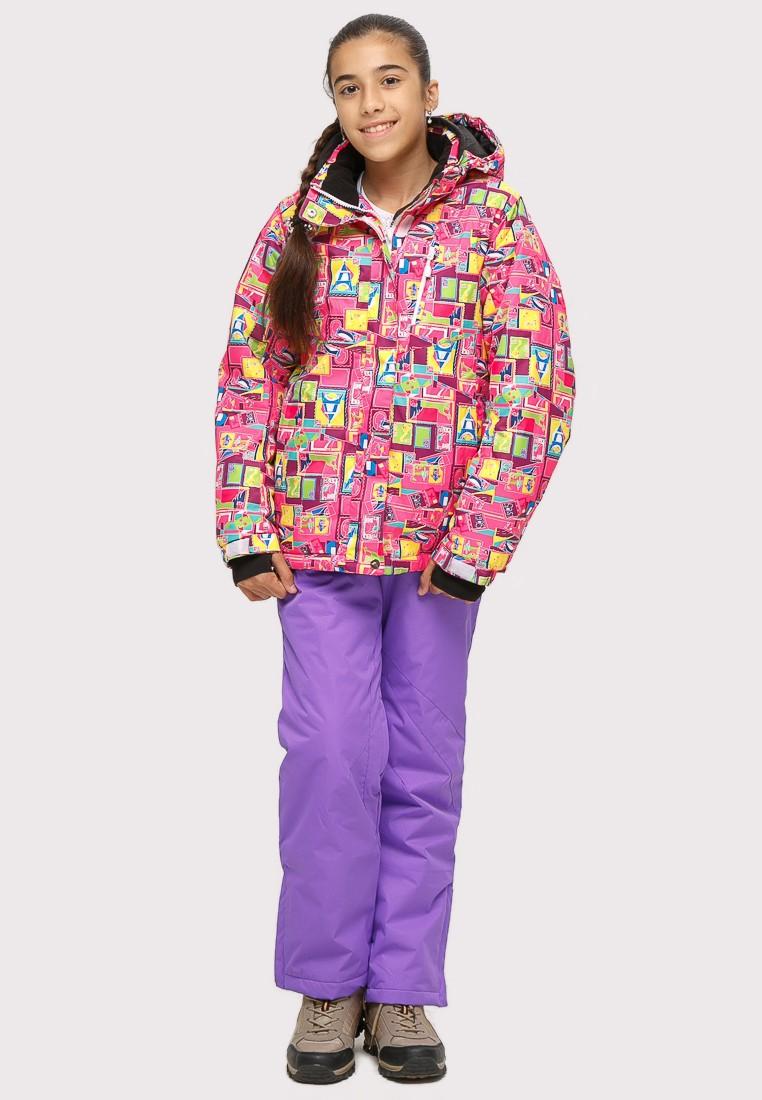 Купить оптом Костюм горнолыжный для девочки розового цвета 01774-1R в Волгоградке