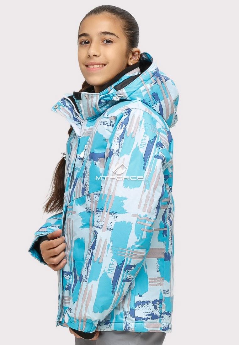 Купить оптом Куртка горнолыжная подростковая для девочки голубого цвета 1774Gl в Воронеже