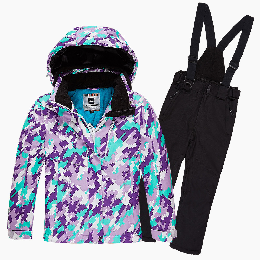 Купить оптом Костюм горнолыжный для девочки фиолетового цвета 01774F в Воронеже