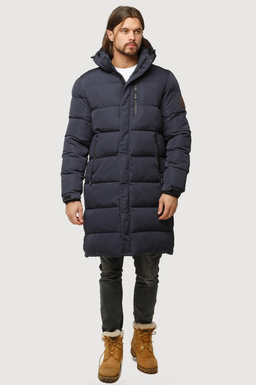 Купить оптом Куртка зимняя удлиненная мужская темно-синего цвета 1780TS в  Красноярске
