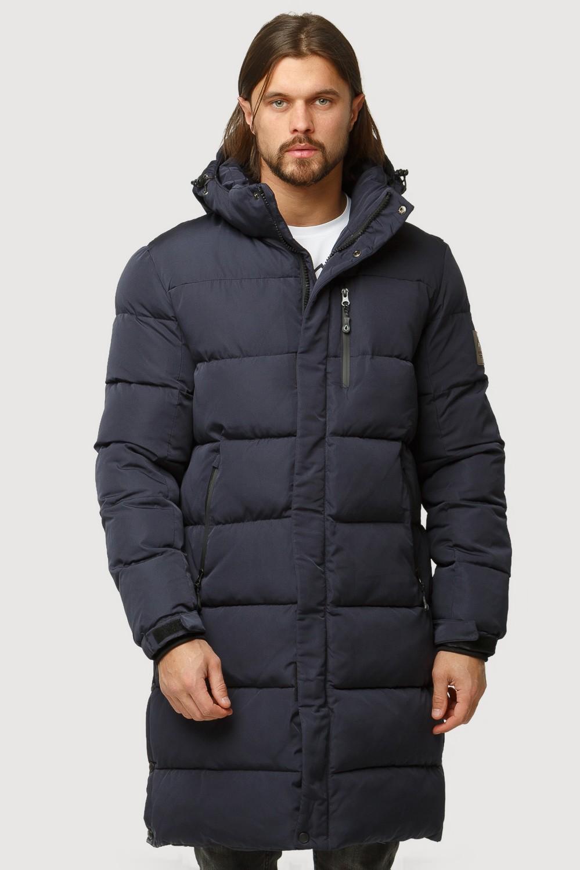 Купить оптом Куртка зимняя удлиненная мужская темно-синего цвета 1780TS в Перми