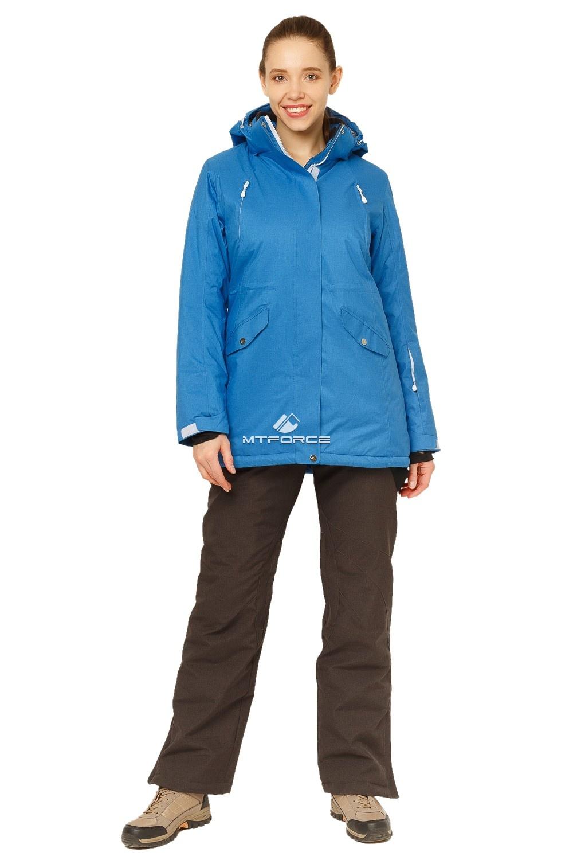 Купить оптом Костюм горнолыжный женский большого размера синего цвета 01783S