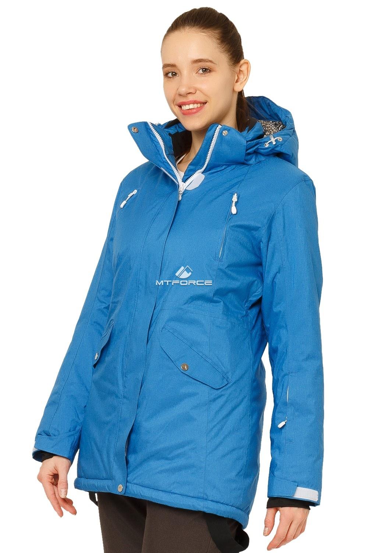 Купить оптом Куртка горнолыжная женская большого размера синего цвета 1783S в Казани