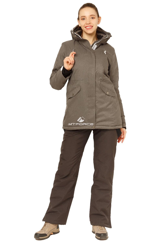 Купить                                      оптом Костюм горнолыжный женский большого размера темно-серого цвета 01783TC