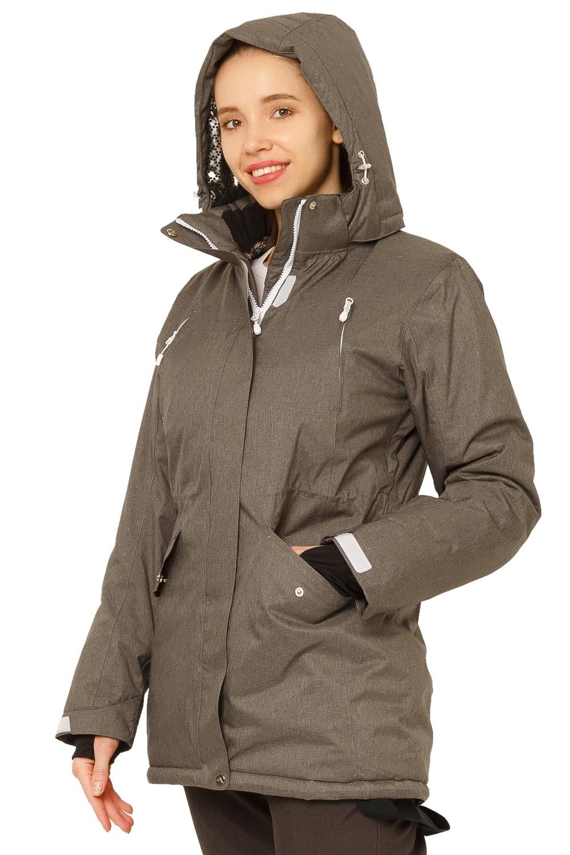Купить оптом Куртка горнолыжная женская большого размера темно-серого цвета 1783ТС в Уфе