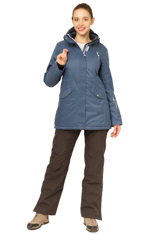 Купить оптом Костюм горнолыжный женский большого размера голубого цвета 01783Gl