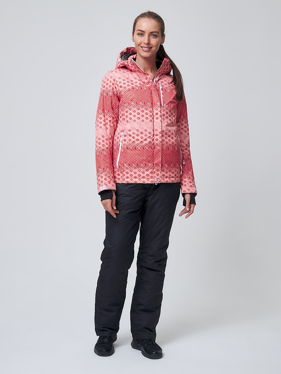 Купить оптом Костюм горнолыжный женский персикового цвета 01786P